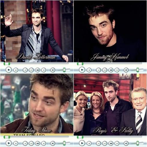 Mister Rob encha�ne show TV sur show TV! Apr�s un tour en Europe pour la promo de Breaking Dawn, on le retrouve chez David Letterman, Jimmy Kimmel, Regis & Kelly, Jimmy Fallon et au Today Show!